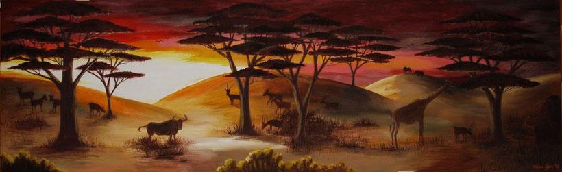 Afrikanische Landschaft - Holzbrett - ca. 2 Meter breit