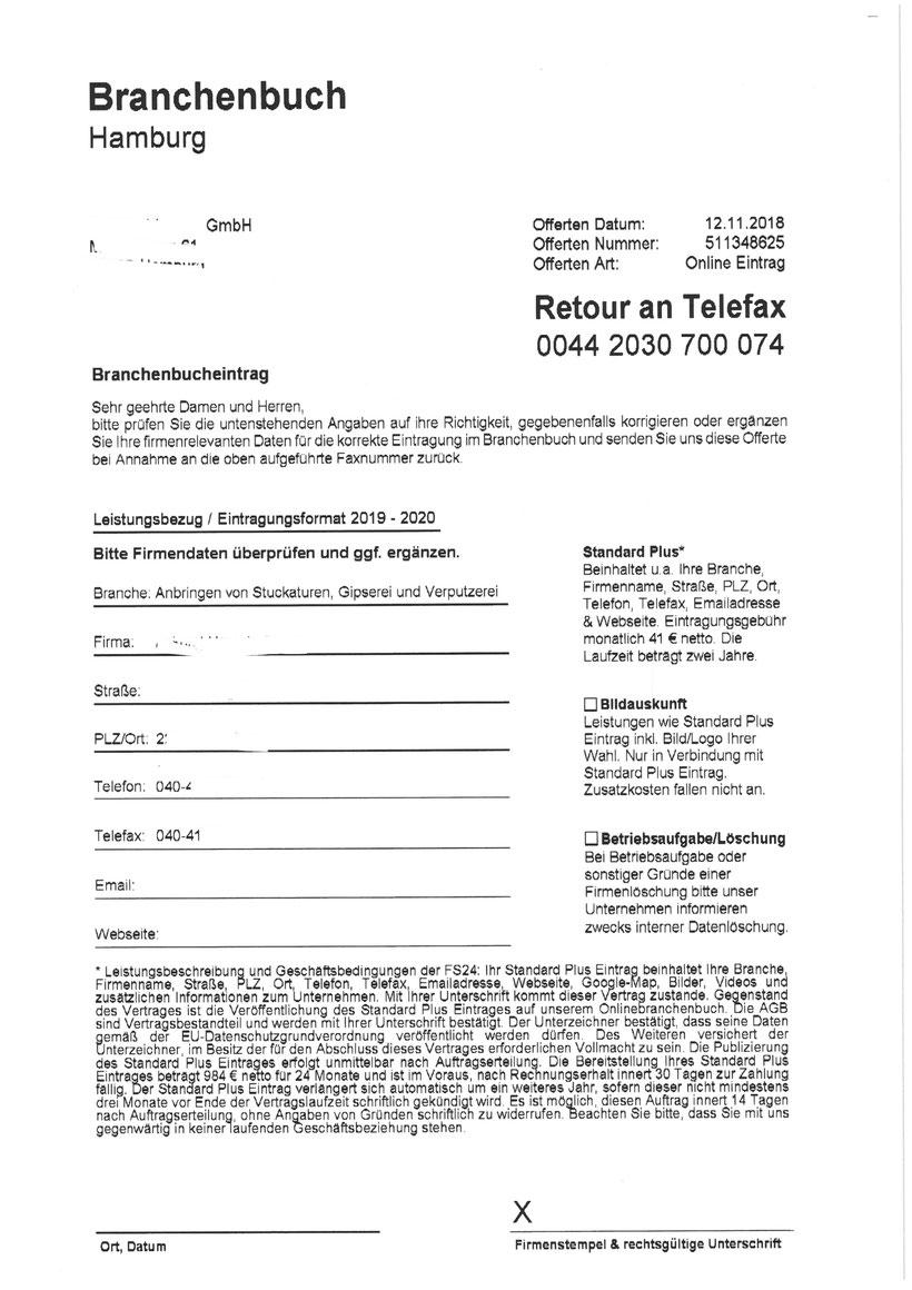"""""""Branchenbuch Hamburg"""" (Name hat nichts mit dem echten Branchebnbuch zu tun) 984,00 Euro"""