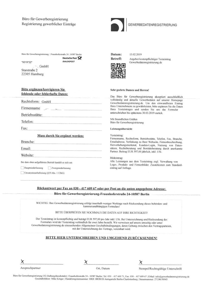 Büro für Gewerberegistrierung 1.194,00 Euro