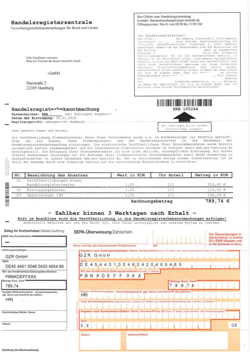 Handelsregisterzentrale 663,65 Euro