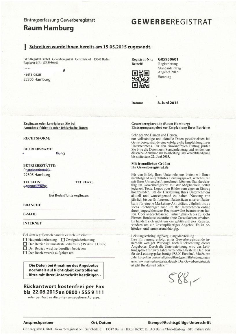 Gewerberegistrat 588,00 Euro
