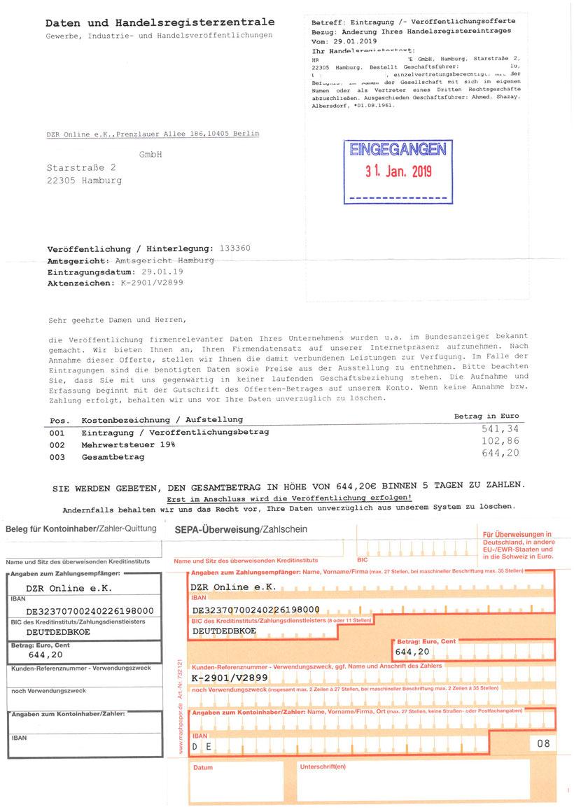 Daten- und Handelsregisterzentrale DZR Online e.K., Berlin 541,34 Euro