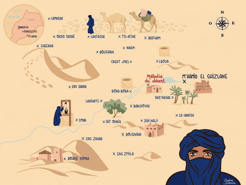 Nouvelle carte des treks de l'agence Mélodie du désert