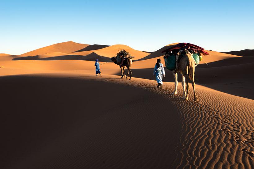 Nomades et leurs dromadaires sur les dunes de l'erg