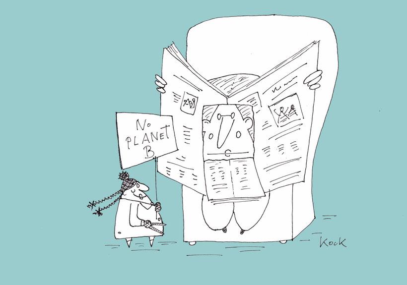 Junge Klimaaktivistin und ihr Vater No Planet B Cartoon Oliver Kock
