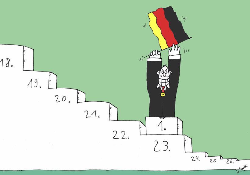 Cartoon Oliver Kock Klimaschutzindex Platz 23. Deutscher feiert sich selbst für Klimaschutz
