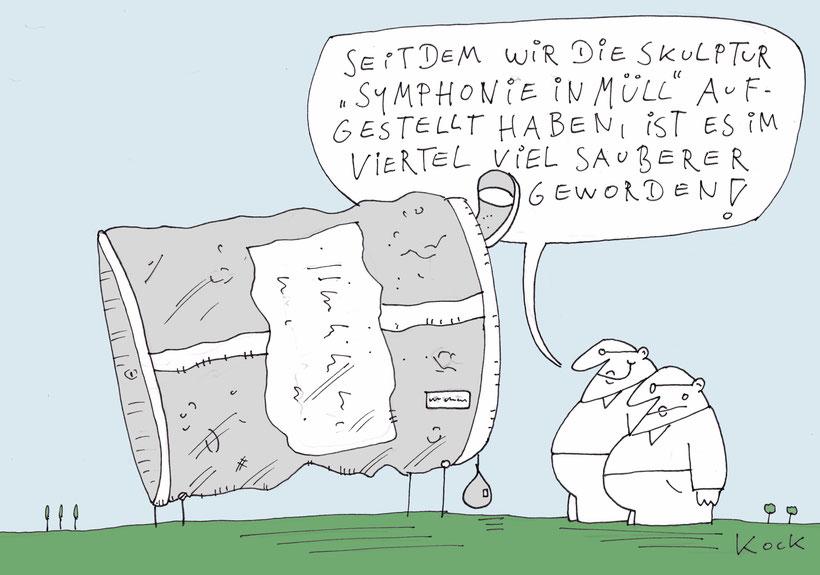 Cartoon Oliver Kock Thema Müll in der Stadt und Müllvermeidung durch Müllskulptur