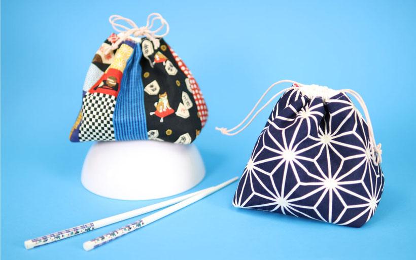 Japanische Kinchaku Beutel nähen aus japanischen Stoffen  mit kostenlosem Schnittmuster. Die Beutelchen  mit Tunnelzug kann man als Handtasche kleines Kosmetiktäschchen, Täschchen für Kleinkram oder auch Geschenkbeutel nutzen. Nähanleitung von DIY Eule.