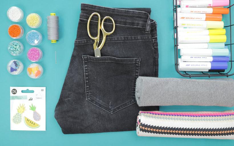 [Werbung] DIY Umstands-Shorts aus alten Jeans selber machen für den Sommer und das Festival mit Stickerei, Perlen, und Pintor Stiften. DIY Anleitung von DIY Eule.