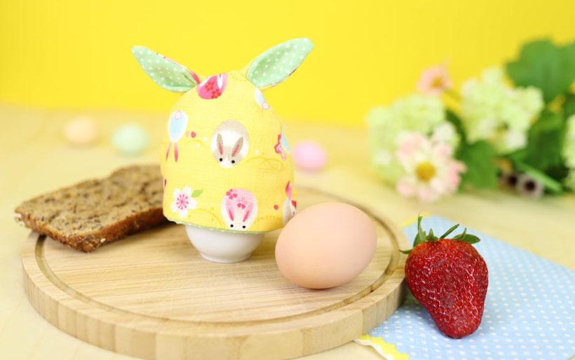 Eierwärmer nähen mit kostenlosem Schnittmuster als Ostergeschenk oder Osterdeko DIY Idee von DIY Eule