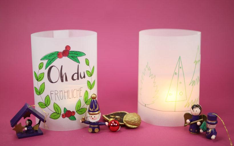 [Werbung] Windlichter basteln, bemalen und handlettering aus dem Bastelset DIY Weihnachten von Stabilo – Anleitung von DIY Eule