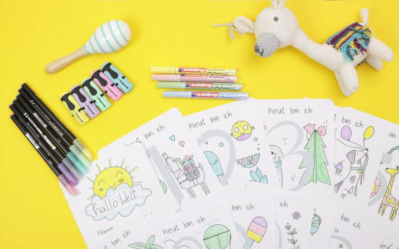 [Werbung] Perfektes Geschenk zur Geburt: Baby-Meilensteinkarten selbst gestalten mit kostenloser Druckvorlage zum Ausmalen und dem edding Pastell Set. Für süße Babyfotos. Anleitung. von DIY Eule.