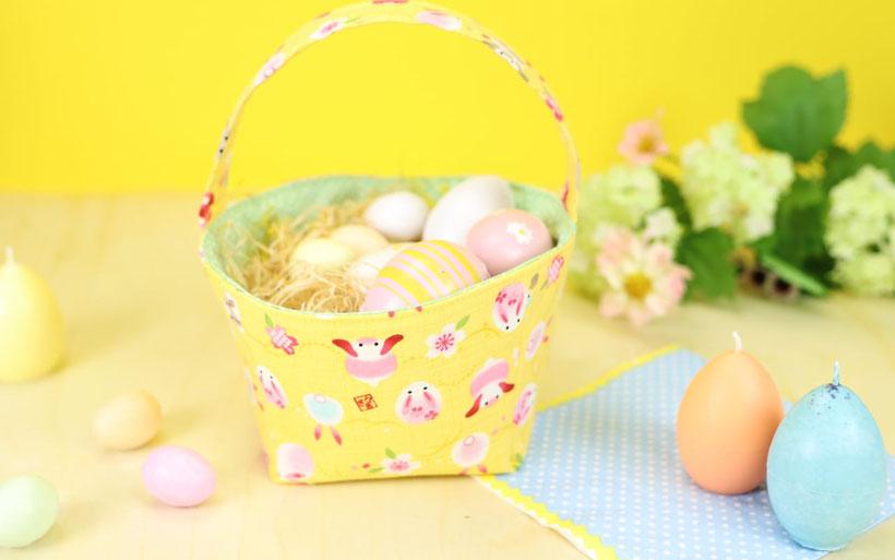 Osterkörbchen nähen mit kostenlosem Schnittmuster als Ostergeschenk oder Osterdeko DIY Idee von DIY Eule