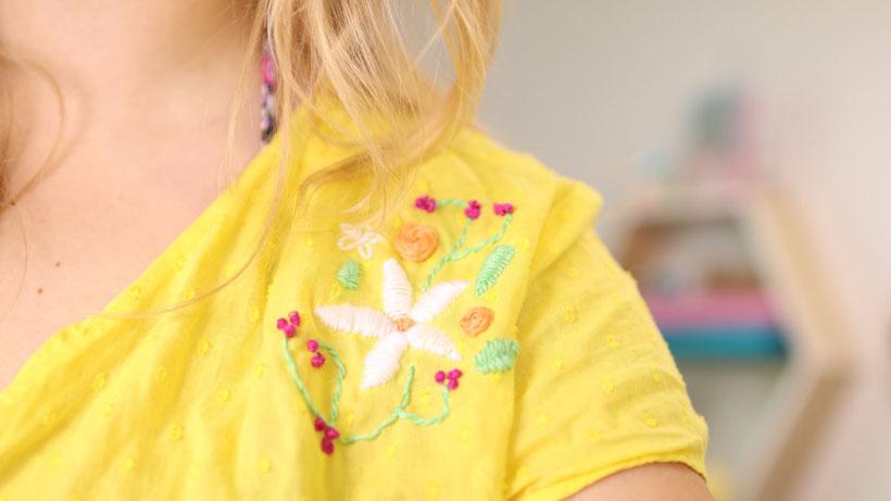 DIY: Altes T-Shirt besticken für Anfänger mit Linda loves. Dabei zeigen wir 6 verschiedene Stickstiche von Plattstich, über Webrose,  Knötchenstich, Rückstich, umwickelter Vorstich, Margeritenstich. DI Anleitung von DIY Eule.