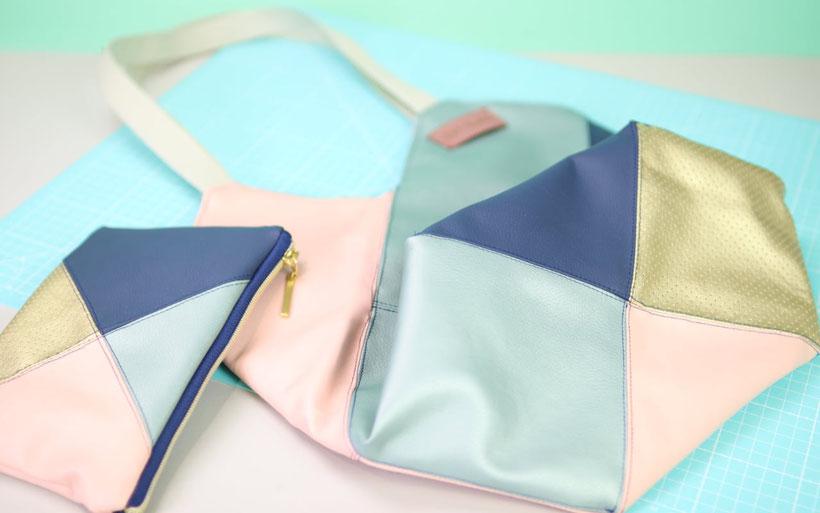 Windmühlentasche aus Stoffresten nähen inkl. passender Reißverschlusstasche – perfekt für Stoffreste und schnell genäht. Handtaschen nähen auch für Anfänger. Tasche nähen mit DIY Eule – kostenlose Nähanleitung.