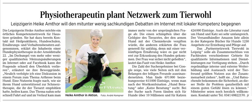Hundephysiotherapie Heike Amthor in der LVZ am 25.7.2017