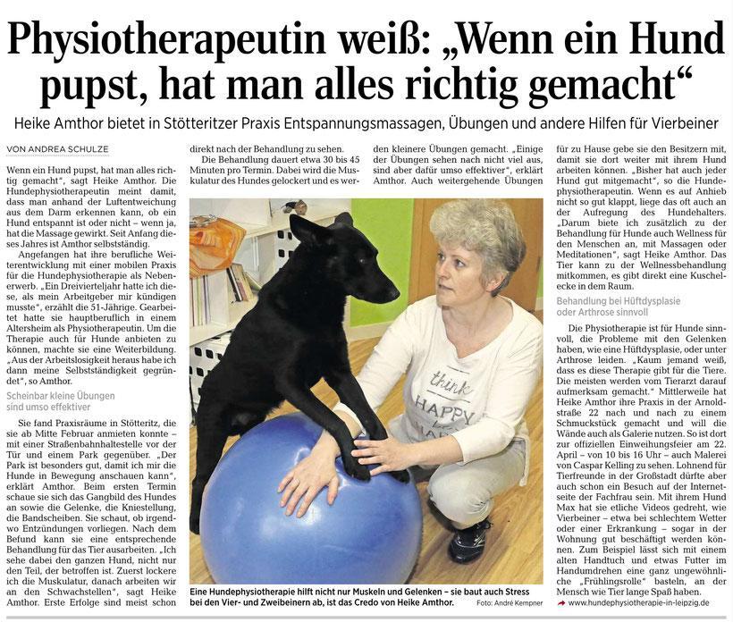 Hundephysiotherapie Heike Amthor in der LVZ