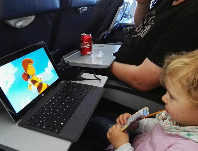Tablet im Flugzeug