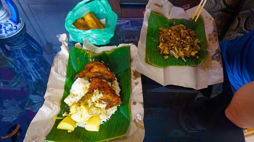 Nasi Bunkus auf Sumatra - lecker!