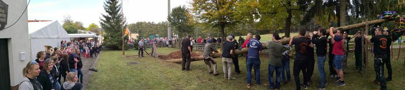 Baumaufstellen am jetzigen Kerwa-Platz am Feuerwehrhaus