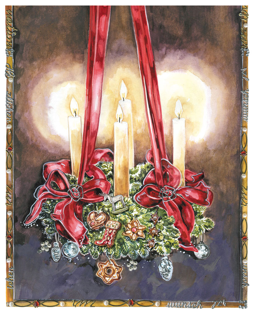 """Adventskranz""Aquarell mit Applikationen, Caroline Ronnefeldt  aus ""Hausbuch für den Advent"" ars Edition 2014"
