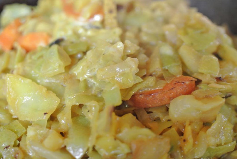 Schnelles Gratin mit Kraut, Kartoffeln und Käse