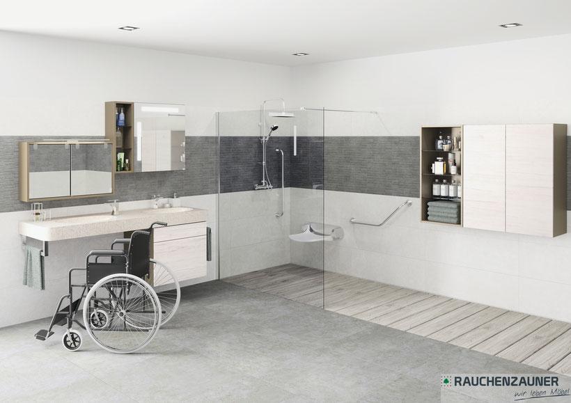 Barrierefreie Badezimmer, mit unterfahrbaren Waschbecken und tiefer hängenden Spiegelschrank