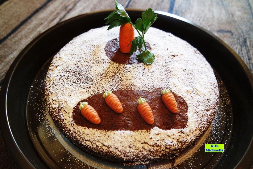 Möhren-Mandel-Kuchen mit Dinkel, Backrezept aus eBook/Buch: Dinkel-Dreams von K.D. Michaelis