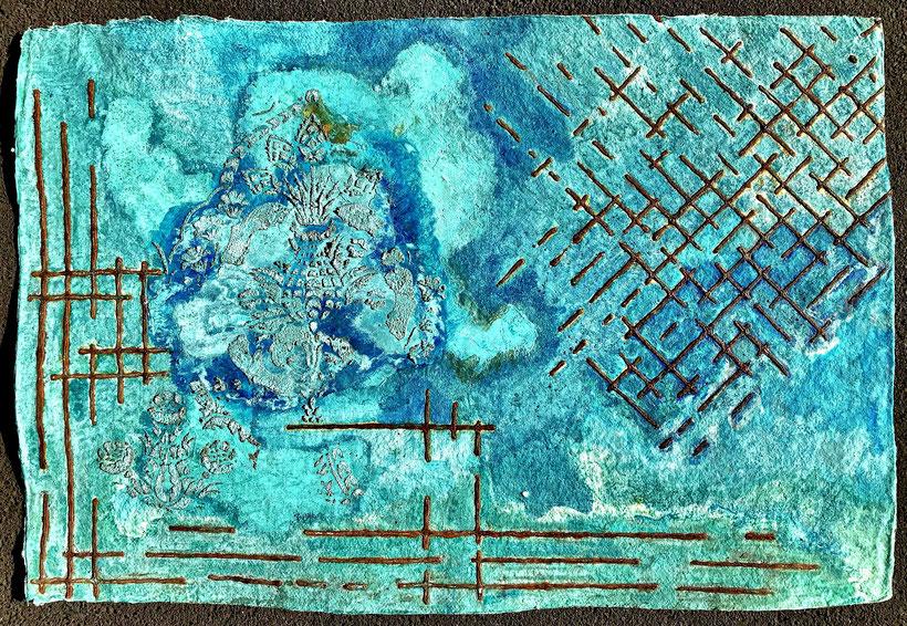 Sascha Hartwich, Hand scooped Cellulose, Rost & Patina auf handgeschöpfter Cellulose / Papier 1.200 gr/qm, Eisengrund, Metallgrund Kupfer, Bronze auf handgeschöpfte Cellulose / Papier / moulin Bütten-Aquarellkarton Landscape XXXVIII, Acryl Tinte