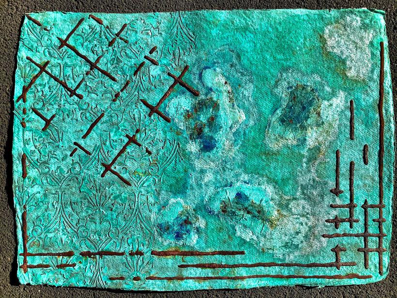 Sascha Hartwich, Hand scooped Cellulose, Rost & Patina auf handgeschöpfter Cellulose / Papier 1.200 gr/qm, Eisengrund, Metallgrund Kupfer, Bronze auf handgeschöpfte Cellulose / Papier / moulin Bütten-Aquarellkarton Landscape XXXII, Acryl Tinte