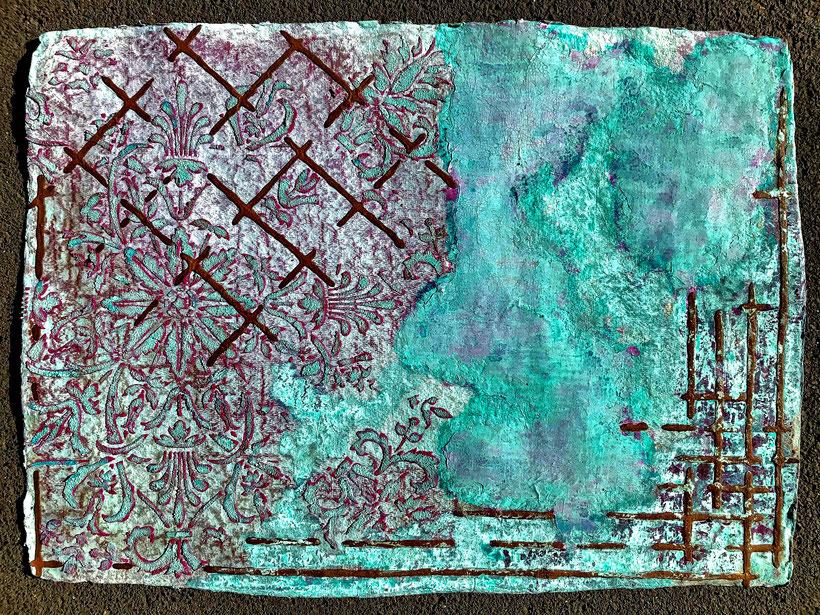 Sascha Hartwich, Hand scooped Cellulose, Rost & Patina auf handgeschöpfter Cellulose / Papier 1.200 gr/qm, Eisengrund, Metallgrund Kupfer, Bronze auf handgeschöpfte Cellulose / Papier / moulin Bütten-Aquarellkarton Landscape XVIV, Acryl Tinte