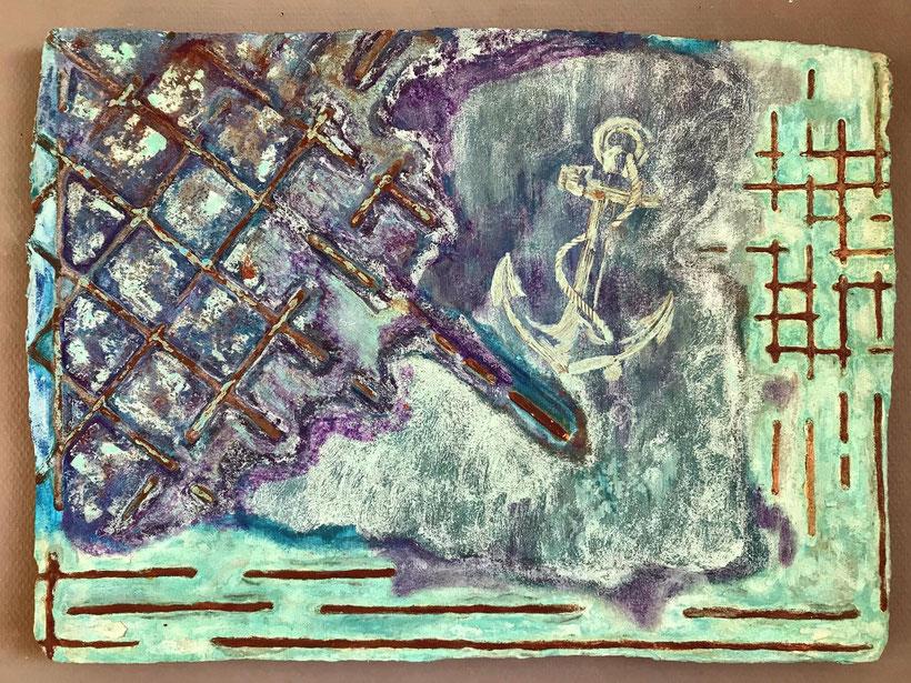 Sascha Hartwich, Hand scooped Cellulose, Rost & Patina auf handgeschöpfter Cellulose / Papier 1.200 gr/qm, ca. 52 x 52 cm, Eisengrund, Metallgrund Kupfer, Bronze auf handgeschöpfte Cellulose / Papier / moulin Bütten-Aquarellkarton Nautik I
