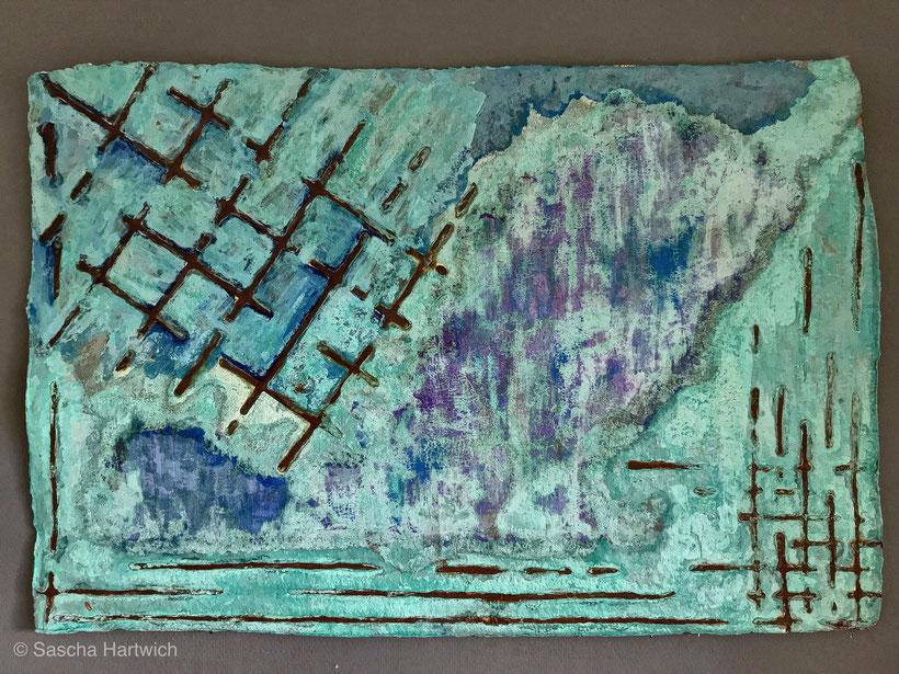 Hand scooped Cellulose, Rost & Patina auf handgeschöpfter Cellulose / Papier 1.200 gr/qm, ca. 52 x 52 cm, Eisengrund, Metallgrund Kupfer, Bronze auf handgeschöpfte Cellulose / Papier / moulin Bütten-Aquarellkarton Landscape XX, Acryl Tinte