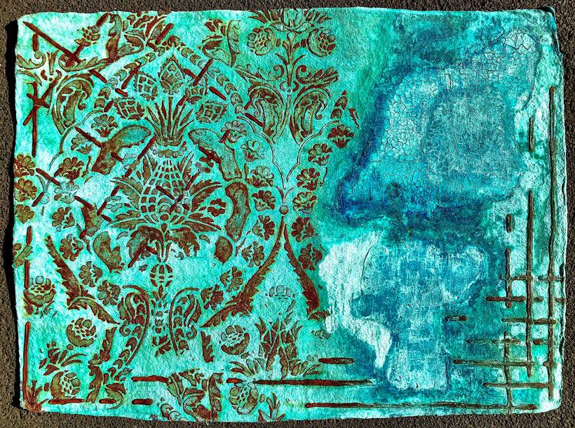 Sascha Hartwich, Hand scooped Cellulose, Rost & Patina auf handgeschöpfter Cellulose / Papier 1.200 gr/qm, Eisengrund, Metallgrund Kupfer, Bronze auf handgeschöpfte Cellulose / Papier / moulin Bütten-Aquarellkarton Landscape XXXVI, Acryl Tinte
