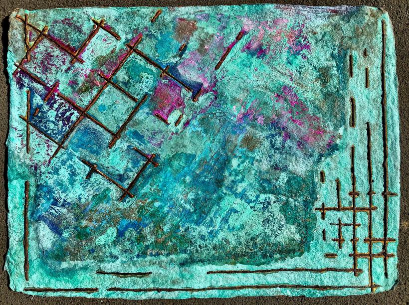 Sascha Hartwich, Hand scooped Cellulose, Rost & Patina auf handgeschöpfter Cellulose / Papier 1.200 gr/qm, Eisengrund, Metallgrund Kupfer, Bronze auf handgeschöpfte Cellulose / Papier / moulin Bütten-Aquarellkarton Landscape XI, Acryl Tinte