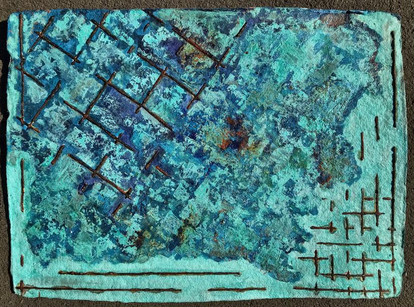 Sascha Hartwich, Hand scooped Cellulose, Rost & Patina auf handgeschöpfter Cellulose / Papier 1.200 gr/qm, Eisengrund, Metallgrund Kupfer, Bronze auf handgeschöpfte Cellulose / Papier / moulin Bütten-Aquarellkarton Landscape VIII, Acryl Tinte