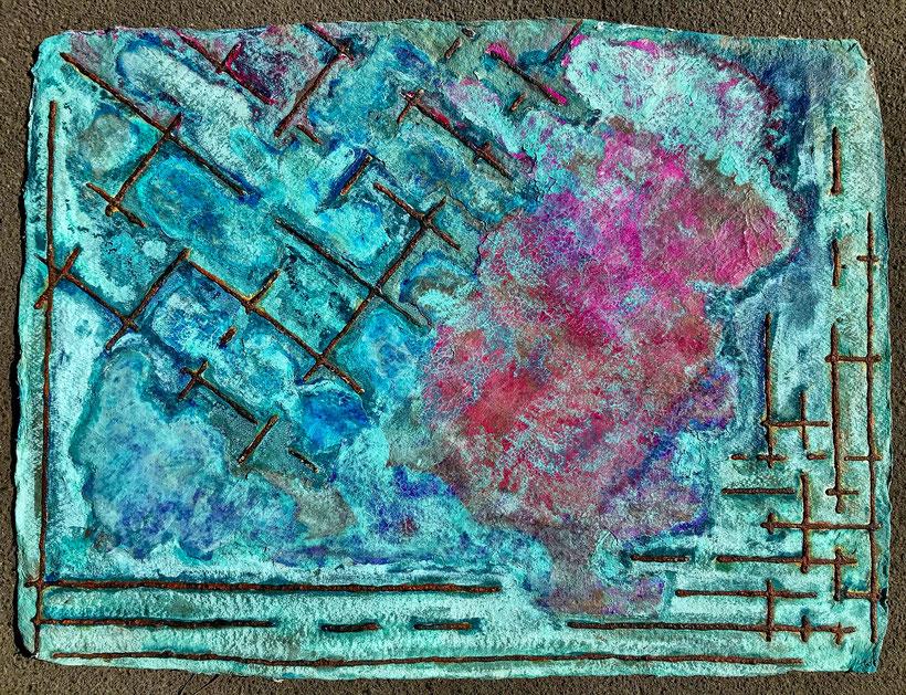 Sascha Hartwich, Hand scooped Cellulose, Rost & Patina auf handgeschöpfter Cellulose / Papier 1.200 gr/qm, Eisengrund, Metallgrund Kupfer, Bronze auf handgeschöpfte Cellulose / Papier / moulin Bütten-Aquarellkarton Landscape X, Acryl Tinte