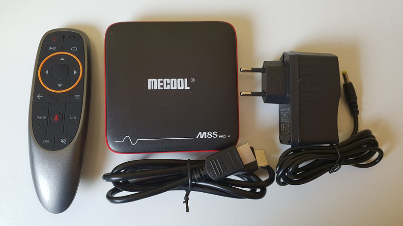 Contenu du packaging de la Box Mecool M8S Pro W sous android TV