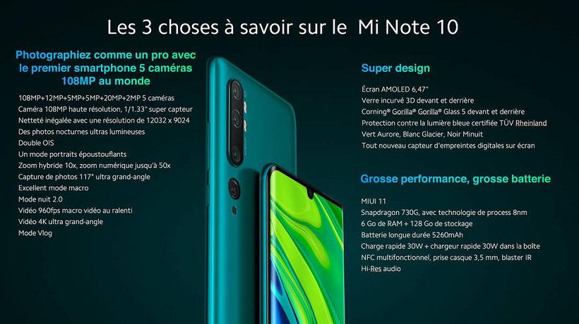 Xiaomi Mi Note 10 récapitulatif