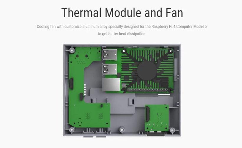 NESPi 4 Case intérieur ventilateur