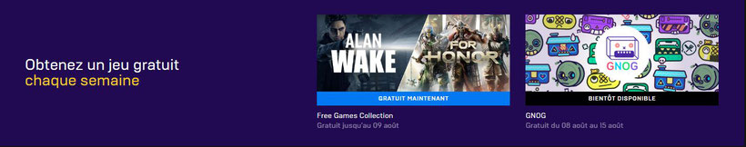 Alan Wake et For Honor gratuit epic Games Store