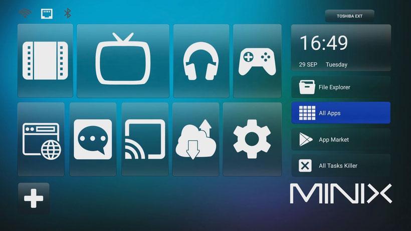 Minix Neo U22-XJ interface Minix Retro