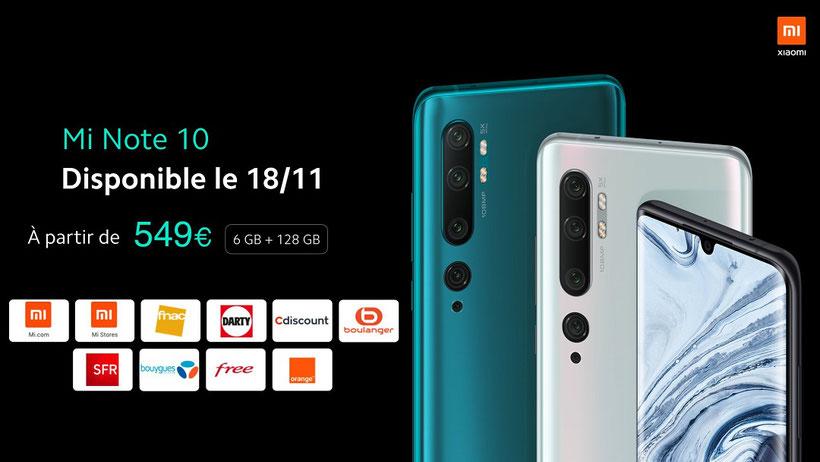 Xiaomi Mi Note 10 prix