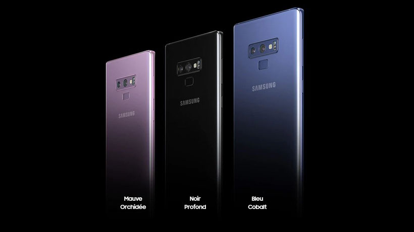 Samsung Galaxy Note 9 coloris