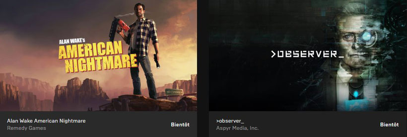 Epic Game Store Alan Wake's American Nightmare et Observe