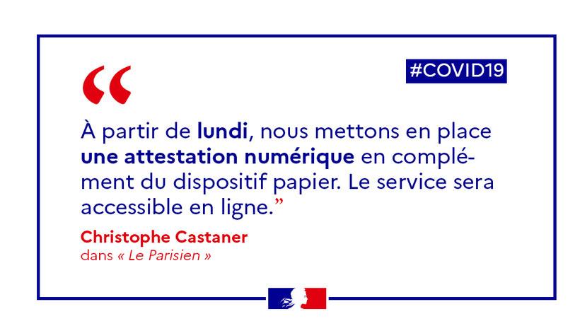 Christophe Castaner déclaration attestation de sortie pour le confinement