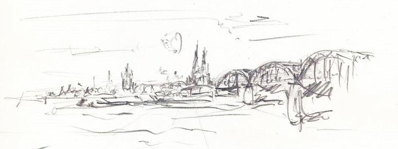 Zeichnung Köln am Rhein, Hohenzollernbrücke, Rolf Kullmann, KölnKunst