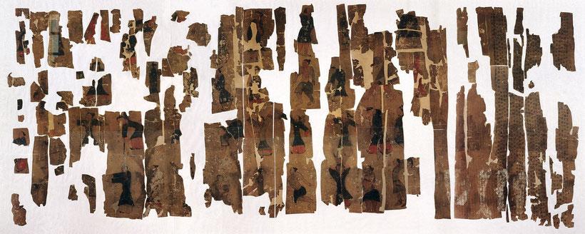 Daoyin tu - Frammenti del dipinto su seta rinvenuta in una tomba datata quasi due secoli a.C.