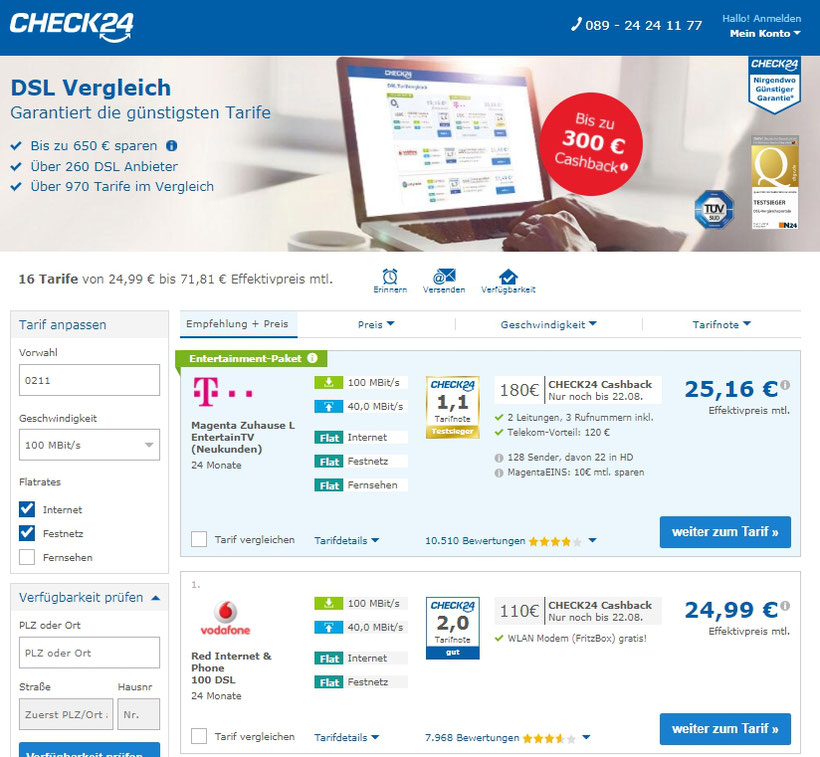 CheckEinfach | Check24 Preisvergleich Vodafone