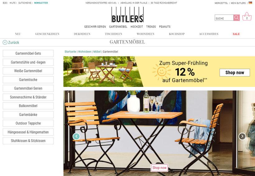 Butlers Gartenmöbel butlers aktion 12 rabatt auf gartenmöbel checkeinfach deine deals